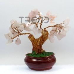 28120-02 CERAMIC TREE WITH ROSE QUARTZ STONES. HEIGHT: 12 CM