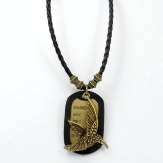 28238-02 MENS PU LEATHER AND METAL DOGTAG NECKLACE