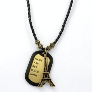 28238-04 MENS PU LEATHER AND METAL DOGTAG NECKLACE