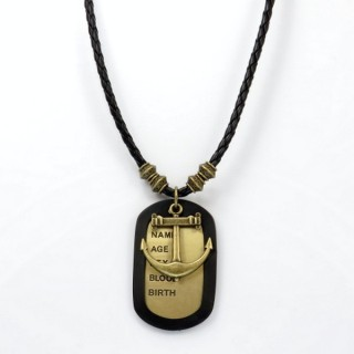 28238-05 MENS PU LEATHER AND METAL DOGTAG NECKLACE