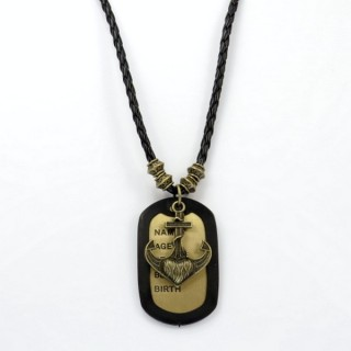 28238-07 MENS PU LEATHER AND METAL DOGTAG NECKLACE