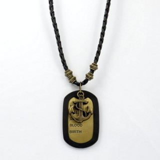 28238-08 MENS PU LEATHER AND METAL DOGTAG NECKLACE