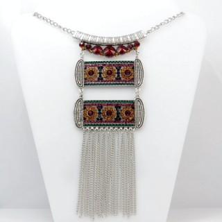 28316-01 MEDIUM LENGTH METAL & GLASS STONE NECKLACE