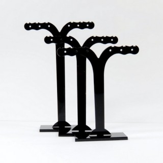 28254-BLACK SET OF 3 ACRYLIC EARRINGS STANDS  11, 10 & 9 CM