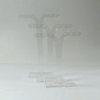 28254-TRANS SET OF 3 ACRYLIC EARRINGS STANDS  11, 10 & 9 CM