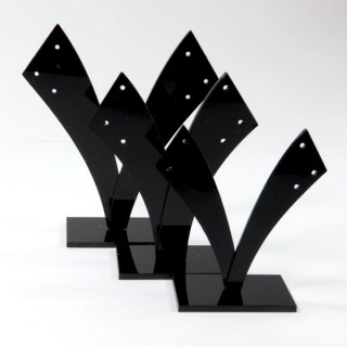 28256-BLACK SET OF 3 ACRYLIC EARRINGS STANDS  11, 10 & 9 CM