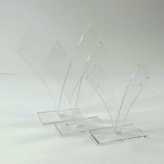 28256-TRANS SET OF 3 ACRYLIC EARRINGS STANDS  11, 10 & 9 CM