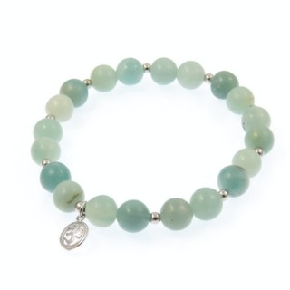 20002-41 AMAZONITE AA RHODIUM PLATED SILVER OM BRACELETS