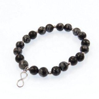 20003-21 SNOWFLAKE OBSIDIAN RHODIUM PLATED SILVER IFINITY BRACELET