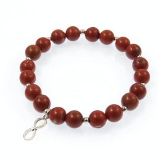 20003-16 RED JASPER RHODIUM PLATED SILVER IFINITY BRACELET