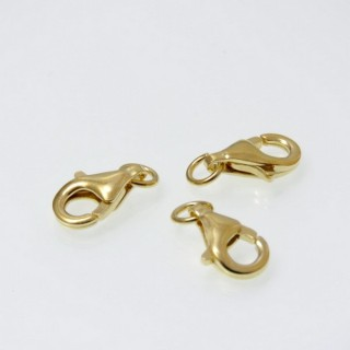 29472 PACK OF 10 GOLD PLATED SILVER 9 X 5 MM LOBSTER CLASPS