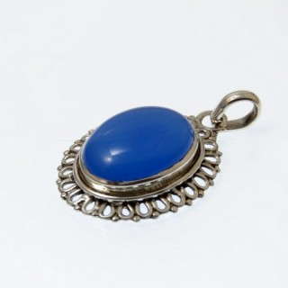 29695-03 SILVER 26 X 21 MM STONE PENDANT WITH BLUE ONYX