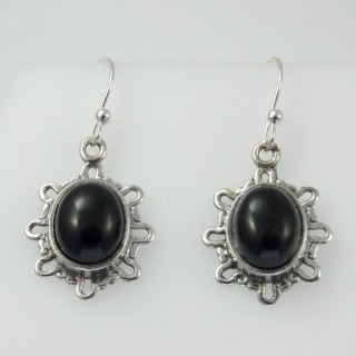 27480-07 STERLING SILVER 19 X 15 MM EARRINGS WITH ONYX