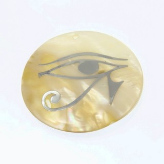 29169-04 ROUND 50 MM SHELL PENDANT WITH EYE OF HORUS