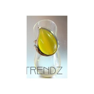 12875 RHODIUM PLATED ADJUSTABLE RING WITH YELLOW CATEYE STONE