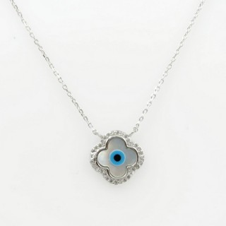 29538 STERLING SILVER RHODIUM PLATED 44 CM LONG NECKLACE WITH EVIL EYE 14 MM PENDANT