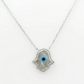 29540 STERLING SILVER RHODIUM PLATED 44 CM LONG NECKLACE WITH 17 X 16 MM HAMSA PENDANT
