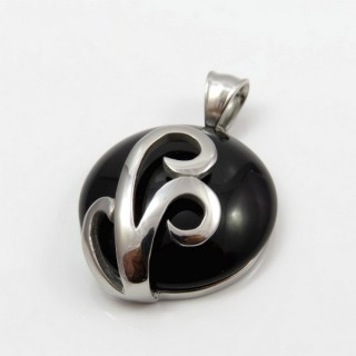29305-01 STAINLESS STEEL PENDANT 33 MM WITH CAT'S EYE STONE