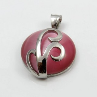 29305-02 STAINLESS STEEL PENDANT 33 MM WITH CAT'S EYE STONE