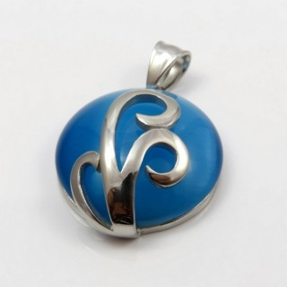29305-03 STAINLESS STEEL PENDANT 33 MM WITH CAT'S EYE STONE