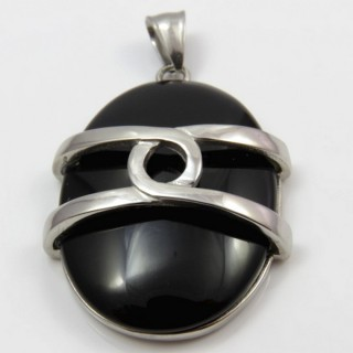 29305-16 STAINLESS STEEL PENDANT 47 X 33 MM WITH CAT'S EYE STONE