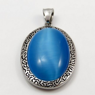 29305-19 STAINLESS STEEL PENDANT 41 X 27 MM WITH CAT'S EYE STONE