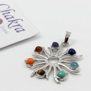 23004-08 METAL PENDANT MADE WITH 7 CHAKRA STONES