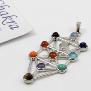 23004-11 METAL PENDANT MADE WITH 7 CHAKRA STONES