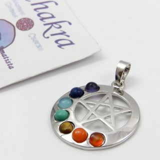 23004-27 METAL PENDANT MADE WITH 7 CHAKRA STONES
