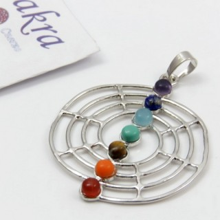 23004-36 METAL PENDANT MADE WITH 7 CHAKRA STONES
