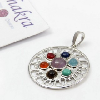 23004-38 METAL PENDANT MADE WITH 7 CHAKRA STONES