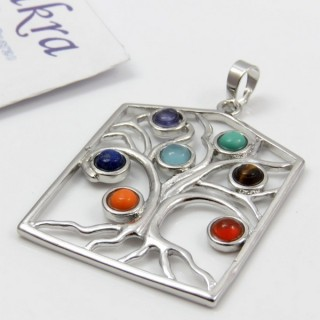 23004-41 METAL PENDANT MADE WITH 7 CHAKRA STONES