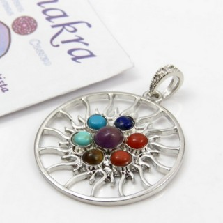 23004-42 METAL PENDANT MADE WITH 7 CHAKRA STONES