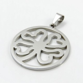 29357 STAINLESS STEEL FOUR LEAF CLOVER 35 MM PENDANT