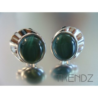 12858 CLIP RHODIUM PLATED CAT'S EYE EARRINGS