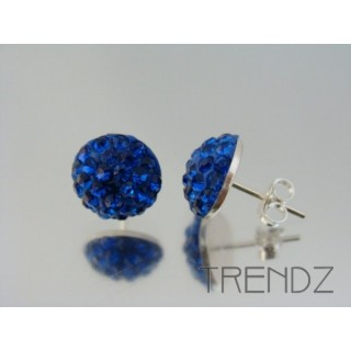 19164 SAPPHIRE SILVER 12 MM HALF BALL EARRINGS WITH ZIRCONS