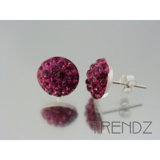 19164 FUCHSIA SILVER 12 MM HALF BALL EARRINGS WITH ZIRCONS