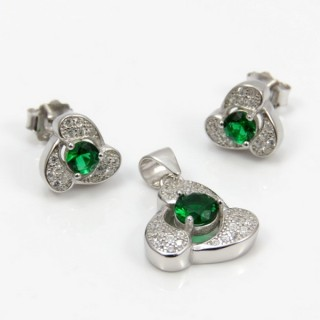29812-06A EARRINGS & PENDANT SET IN RHODIUM PLATED SILVER