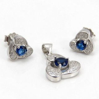 29812-06C EARRINGS & PENDANT SET IN RHODIUM PLATED SILVER