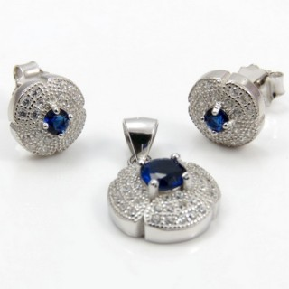 29812-07C EARRINGS & PENDANT SET IN RHODIUM PLATED SILVER