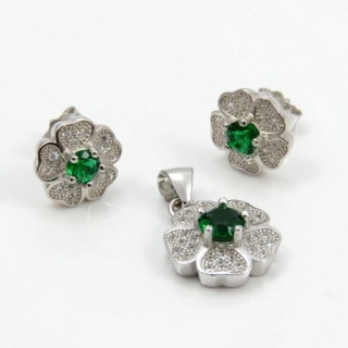 29812-08A EARRINGS & PENDANT SET IN RHODIUM PLATED SILVER