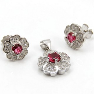 29812-08B EARRINGS & PENDANT SET IN RHODIUM PLATED SILVER
