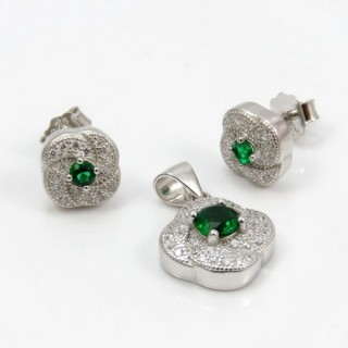 29812-09A EARRINGS & PENDANT SET IN RHODIUM PLATED SILVER