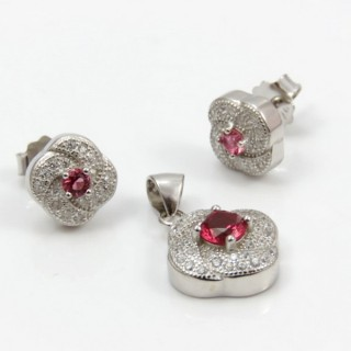29812-09B EARRINGS & PENDANT SET IN RHODIUM PLATED SILVER