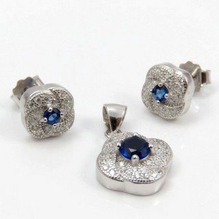 29812-09C EARRINGS & PENDANT SET IN RHODIUM PLATED SILVER