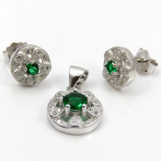 29812-11A EARRINGS & PENDANT SET IN RHODIUM PLATED SILVER
