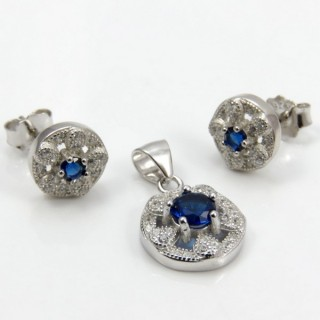 29812-11C EARRINGS & PENDANT SET IN RHODIUM PLATED SILVER