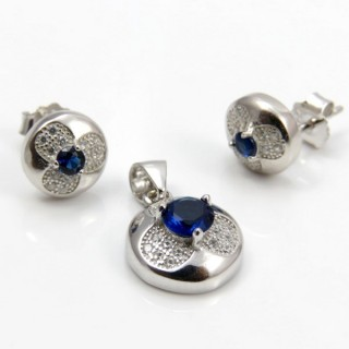 29812-12C EARRINGS & PENDANT SET IN RHODIUM PLATED SILVER