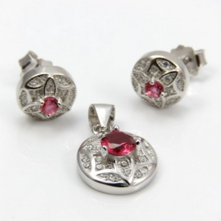29812-15B EARRINGS & PENDANT SET IN RHODIUM PLATED SILVER