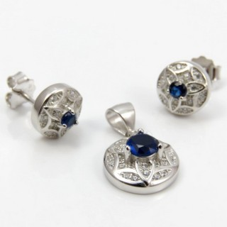 29812-15C EARRINGS & PENDANT SET IN RHODIUM PLATED SILVER